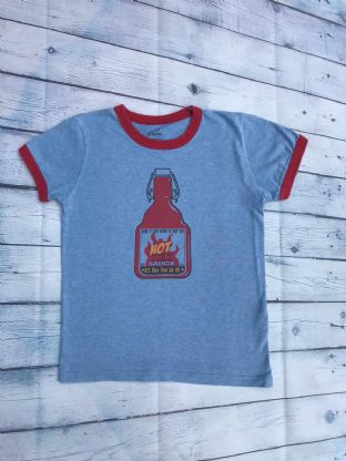 "Mini Boden blue ""hot fire sauce"" tshirt age 7-8"